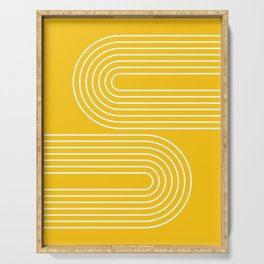 Geometric Lines in Mustard Yellow (Rainbow Abstraction) Serving Tray