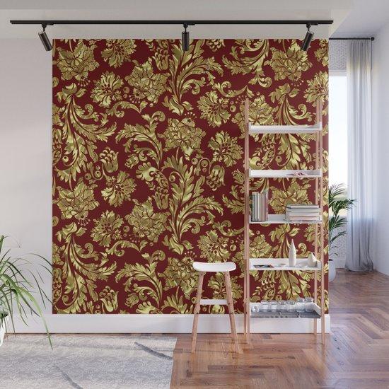 Red & Gold Floral Damasks Pattern by artonwear