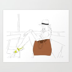 Girl on the Ferry Art Print