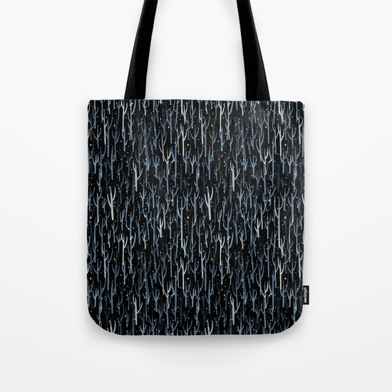 Stopping By Woods on a Snowy Evening Tote Bag