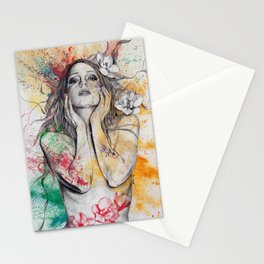 The Withering Spring I | nude tattoo woman portrait Stationery Cards