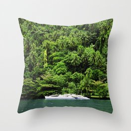 Secret Yacht in Romantic Tropical Tahiti Cove Throw Pillow
