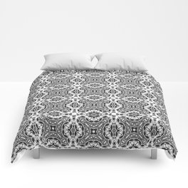 black and white Damascus ornament 2 Comforters