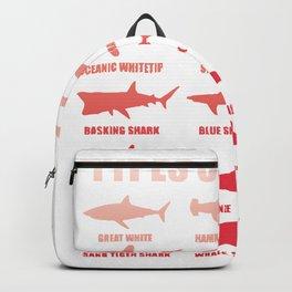 Shark species sharks white shark hammerhead whale shark gift Backpack