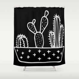 Cactus Planter Gray on Black Shower Curtain