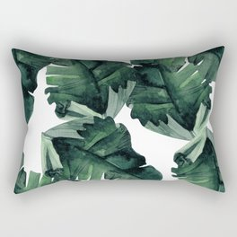Banana Leaves Pattern Green Rectangular Pillow