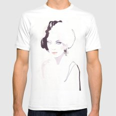 Fashion illustration in watercolors Mens Fitted Tee White MEDIUM