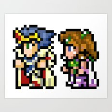 Final Fantasy II - Cecil and Rosa Art Print