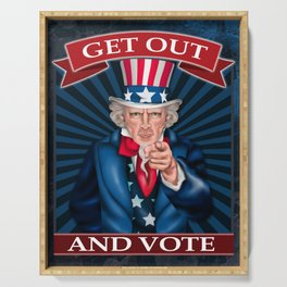 Get Out And Vote Democratic Cool Graphic Design Serving Tray