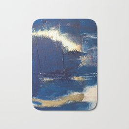 Halo [2]: a minimal, abstract mixed-media piece in blue and gold by Alyssa Hamilton Art Badematte