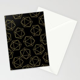 D20 Pattern - Gold and Black Stationery Cards