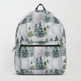 Watercolor forest green snow Christmas pine tree Backpack