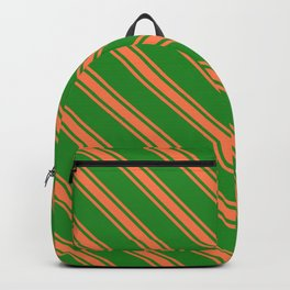 Forest Green and Coral Colored Stripes/Lines Pattern Backpack