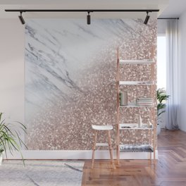 Blush Pink Sparkles on White and Gray Marble V Wall Mural