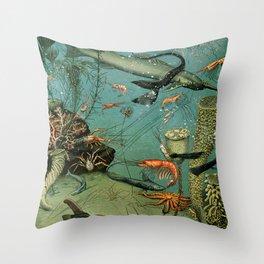 """Adolphe Millot """"Ocean"""" Sea Creatures Nouveau Larousse 1905 Throw Pillow"""