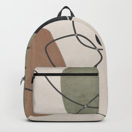 Linkedin Abstract in Sage Green, Cinnamon and Charcoal Grey Backpack
