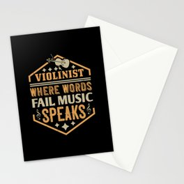 Violin - Where Words Fail Music Speaks Stationery Cards