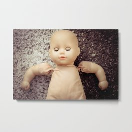 Weird, sleeping, creepy doll close up Metal Print