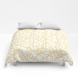 Doodle Line Art   Mustard Yellow Lines on White Comforters