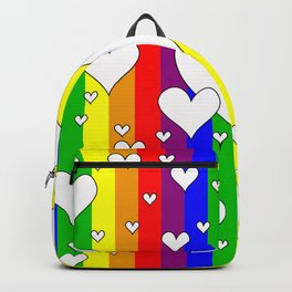 Gay flag with the colors of the rainbow with hearts Backpack