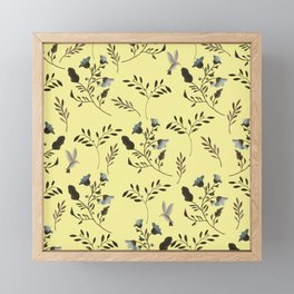 Butter Yellow and Bluebells and Bluebirds Floral Pattern Flowers in Blue and Bark Brown Framed Mini Art Print