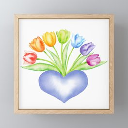 Rainbow Tulips with Heart Framed Mini Art Print