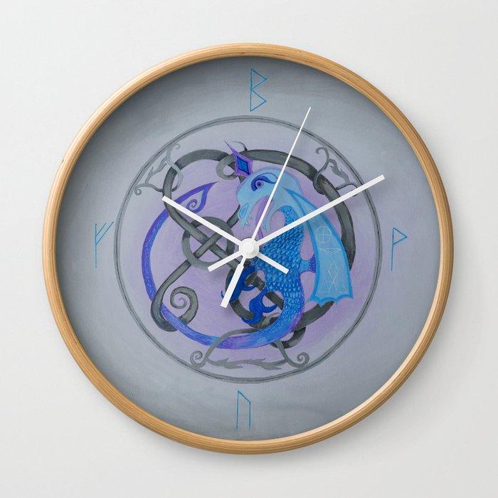 Blue Viking Brooch Wall Clock