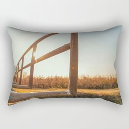 Bridge over an irrigation channel of the Lomellina at sunset Rectangular Pillow