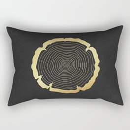 Metallic Gold Tree Ring on Black Rectangular Pillow