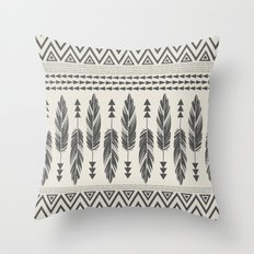 Tribal Feathers-Black & Cream Throw Pillow