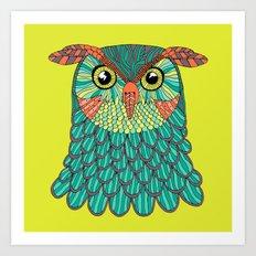 owl - Lime green Art Print