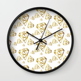 Diamonds - Gold Wall Clock