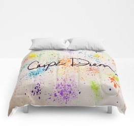 Carpe Diem Paint Splatter Comforters