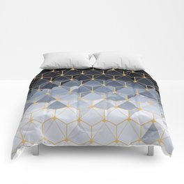 Blue gold hexagonal pattern Comforters