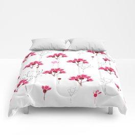 Pink Doodle Flowers Pattern Comforters