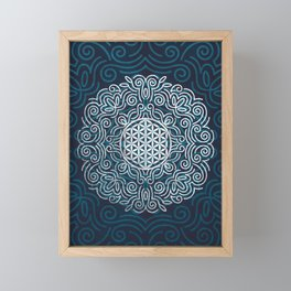 Flower Of Life (Silver Lining) Framed Mini Art Print