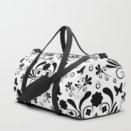 Black and white floral Duffle Bag