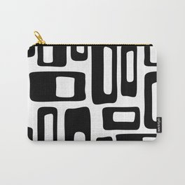 Retro Mid Century Modern Abstract Pattern 336 Black and White Carry-All Pouch