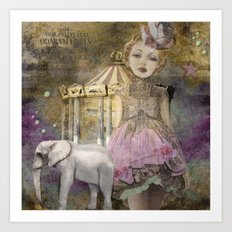 The life of a girl in the circus. Art Print