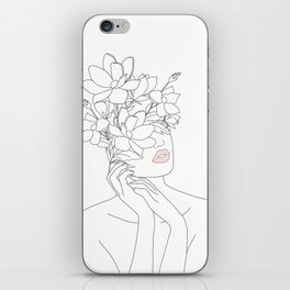 Minimal Line Art Woman with Magnolia iPhone Skin