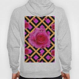 Black-Gold Fuchsia Pink Roses Hoody