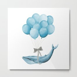 Whale With Balloons -  blue Metal Print
