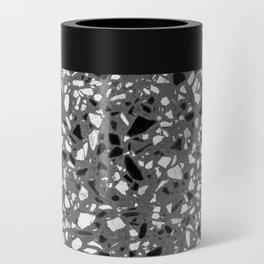 Dark Grey Monochrome Speckles Terrazzo Pattern Stone Effect Can Cooler