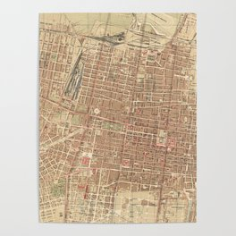 Vintage Map of Mexico City (1907) Poster
