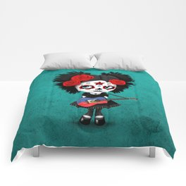Day of the Dead Girl Playing Haitian Flag Guitar Comforters