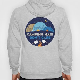 Camping Hair Don't Care Blue Nature Outdoor Tent Hoody