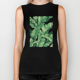 Tropical banana leaves V Biker Tank