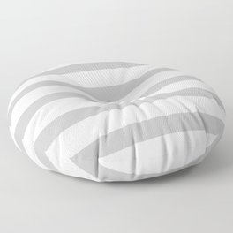 Silver Gray Stripes on White Background Floor Pillow
