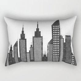 Modern City Buildings And Skyscrapers Sketch, New York Skyline, Wall Art Poster Decor, New York City Rectangular Pillow