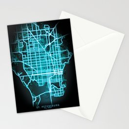 St. Petersburg, FL, USA, Blue, White, Neon, Glow, City, Map Stationery Cards